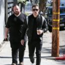 Jonas stops for coffee while out and about with a friend in West Hollywood, California on February 11, 2016