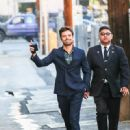 Sebastian Stan is seen arriving at 'Jimmy Kimmel Live' in Los Angeles, California on Nov. 8 2018