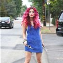 Bella Thorne in Blue Mini Dress out in Hollywood