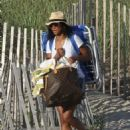 Solange Knowles in Denim Shorts at the Beach in The Hamptons - 454 x 578