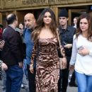 Selena Gomez in Print Dress – Out and about in NY