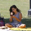 Jenna Coleman – Enjoying a picnic with a female friend in a London park