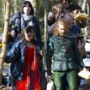 It's Maid Companion! Jenna Coleman wears medieval red dress to film 'Robots of Sherwood' episode of Doctor Who with Peter Capaldi