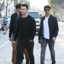 Joe & Kevin Jonas meet some friends for lunch in Los Angeles, California on January 9, 2015 - 454 x 574