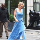 Rosie Huntington Whiteley in Blue Dress – Out in New York City