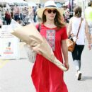 Bethany Joy Lenz in Red Dress – Buys flowers in Studio City