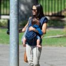 Jordana Brewster and Son Out and About