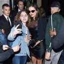 Nina Dobrev in Black Mini Dress – Out in Paris