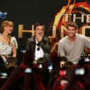 Josh Hutcherson, Jennifer Lawrence, and Liam Hemsworth kicked off their The Hunger Games mall tour, March 3, in Century City, CA