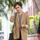 Actress Lily Collins is seen leaving Reese Witherspoon's office in Beverly Hills, California on May 28, 2015