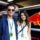 Louis Tomlinson, singer, with girlfriend Danielle Campbell at the Red Bull Racing garage during qualifying for the Monaco Formula One Grand Prix at Circuit de Monaco on May 28, 2016 in Monte-Carlo, Monaco
