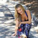 Joanna Krupa Walking Her Dog In Miami