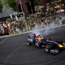David Coulthard streaking along Orchard Road yesterday in a Red Bull Formula One car. -- ST PHOTO: MUGILAN RAJASEGERAN