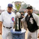 Ozzie Guillen & Lou Piniella with The White Sox 2005 World Series Trophy