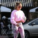 Jennifer Lopez in Pink Patterned Leggings – Out in West Hollywood
