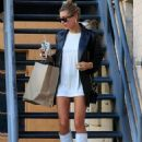 Hailey Baldwin in White Boots – Leaving a business meeting in Beverly Hills