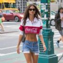 Emily Ratajkowski in Denim Shorts – Out in New York City - 454 x 692