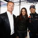 (L-R) David Coulthard, actress Bettina Zimmermann and Mark Webber of Australia and Red Bull Racing attend the Red Bull On Track event at the Driving Safety Center on July 23, 2011 in Nuerburg, Germany - 454 x 326