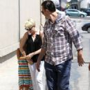 """Michelle Williams and her beau Jason Segel with Matilda to watch """"Snow White"""" at the Pantages Theater in Hollywood (August 25)"""