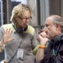 Producer Laura Ziskin (left) and Producer Avi Arad (right) on the set of Columbia Pictures' Spider-Man 3. Photo Credit: Merie W. Wallace. Copyright© 2006 Sony Pictures Entertainment Inc.. All rights reserved.