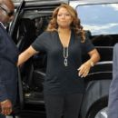 Queen Latifah shows love to her fans as she arrives at the 'Late Show With David Letterman' in New York City