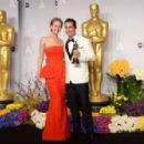 Jennifer Lawrence and Matthew McConaughey - The 86th Annual Academy Awards - Press Room - 454 x 296