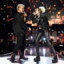 Miley Cyrus & Billy Idol at the 2016 iHeartradio Music Festival - 454 x 391