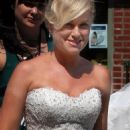 Amy Poehler in wedding gown while filming
