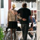 Johnny Hallyday is seen visiting the Brentwood Country Mart with his wife Laeticia on February 2, 2015 in Brentwood, California