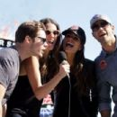 Josh Henderson, Julie Gonzalo, Jordana Brewster and Jesse Metcalfe give the command for the drivers to start their engines prior to the start of the NASCAR Sprint Cup Series AAA Texas 500 at Texas Motor Speedway on November 4, 2012 in Fort Worth, Texas