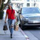 Kelly Rowland in Jeans and Red Shirt out in West Hollywood - 454 x 303