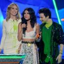 Heidi Klum and actor Chris Colfer speak onstage at Nickelodeon's 25th Annual Kids' Choice Awards held at Galen Center on March 31, 2012 in Los Angeles
