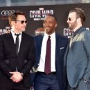 Robert Downey Jr, Chris Evans, Anthony Mackie - April 12, 2016- Premiere of Marvel's 'Captain America: Civil War' - Red Carpet - 454 x 339