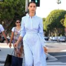 Angela Sarafyan in Blue Dress – Out in Beverly Hills - 454 x 681