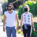 Gwyneth Paltrow in Tights with husband Brad Falchuk in Pacific Palisades