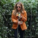 Caroline Flack with her dog out in London - 454 x 737