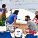 Amber Heard in Red Bikini at a yacht on the Amalfi Coast