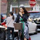 Famke Janssen Riding Her Bike In New York