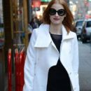 Jessica Chastain: arriving at the Walter Kerr Theatre for a performance of her Broadway show The Heiress in New York City