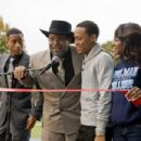 (L-r) BRANDON T. JACKSON as Benny, ICE CUBE as Mr. Washington, BOW WOW as Kevin Carson, and NATURIE NAUGHTON as Stacie in Alcon Entertainment's comedy 'LOTTERY TICKET,' a Warner Bros. Pictures release. Photo by David Lee - 454 x 302