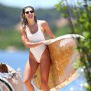 Ashley Hart in White Swimsuit Paddleboarding in New York - 454 x 681