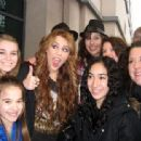 Miley Cyrus smiled with her fans after taping her appearance on The Oprah Winfrey Show today, April 8, in Chicago.