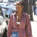 Christina Milian in Denim Shorts – Out in Los Angeles
