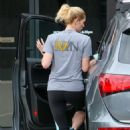 Ashley Greene in Leggings at a gas station in LA