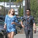 Sophie Turner in Mini Dress and Joe Jonas – Out in Los Feliz