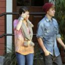Justin Bieber and Selena Gomez at PF Changs January 10,2012