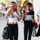Willow Smith out with a friend at the Calabasas Commons in Calabasa, CA (August 13)