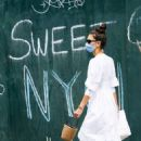 Katie Holmes in White Dress in New York