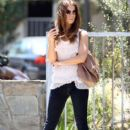 Kate Beckinsale looking stunning as she waits to be picked up from a medical building in Pacific Palisades