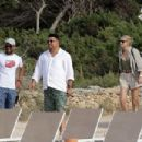 Ronaldo cuts a casual figure in white shirt and green shorts as he enjoys romantic holiday to Spanish island with model girlfriend Celina Locks - 454 x 303